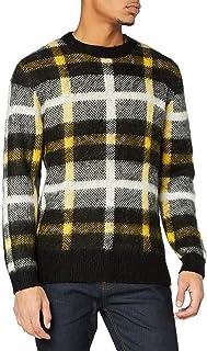 Marchio Amazon - find. Contrast Check Knitted, Felpa Uomo