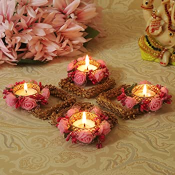 TIED RIBBONS Christmas Candle Holder Set - Floral Floating Tealight Candle Holders Set Christmas Decoration Item (Pack of 4)