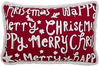 "SARO LIFESTYLE Merry Happy Christmas Throw Pillow, 13"" x 20"" Down Filled, Red"