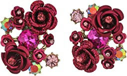 Betsey Johnson - Pink and Gold Flower Clip Earrings