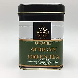 Organic AFRICAN GREEN TEA by Babu Organics (15 Cups) Single ORIGIN Single Estate Loose Leaf Tea in 15 Hand-Crafted Tea Bags, Refreshing Super DETOX TEA with ANTIOXIDANT and many health benefits
