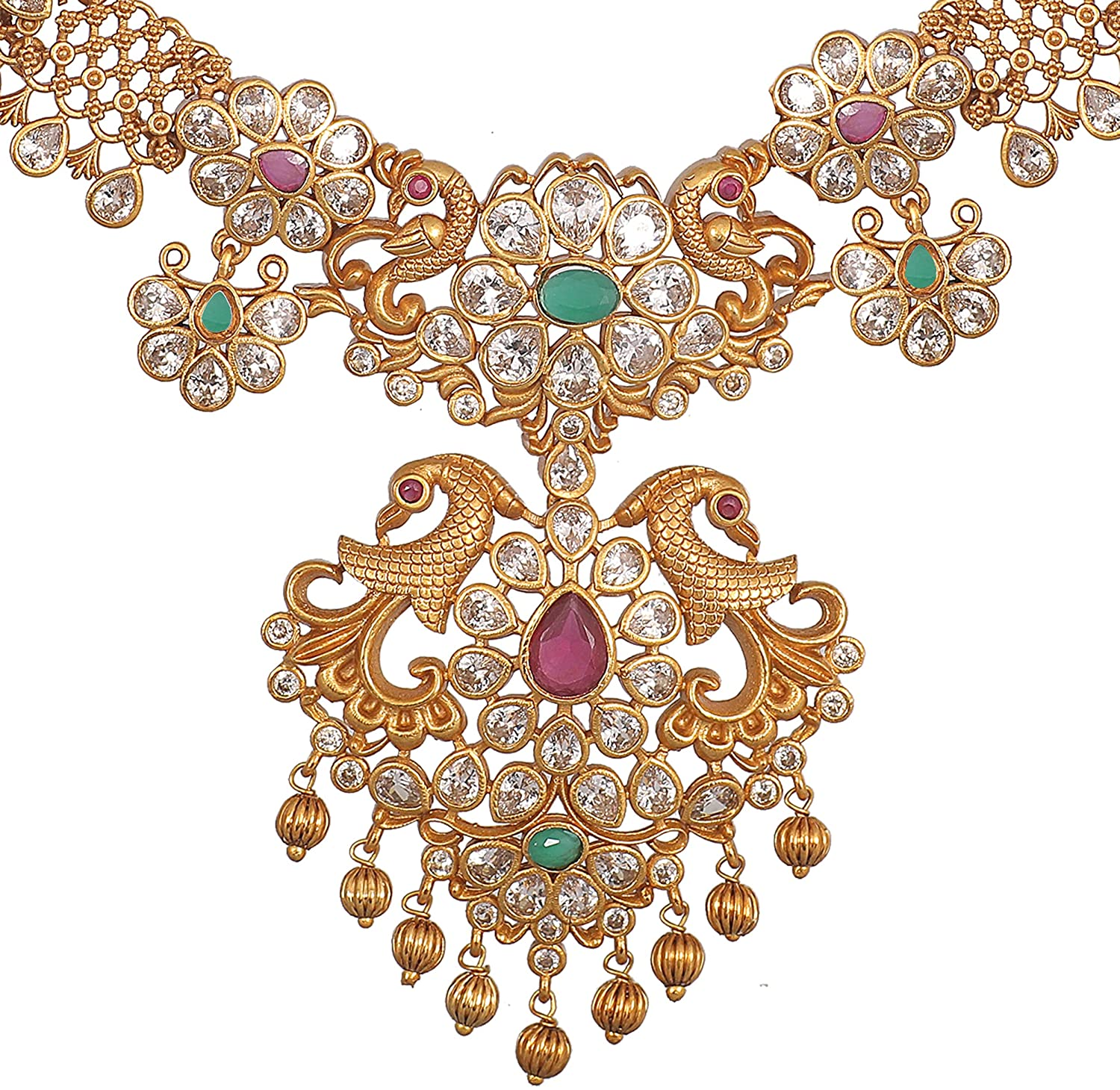 Tarinika Gold-Plated Indian Necklace Set - White Red Green -- For Women and Girls