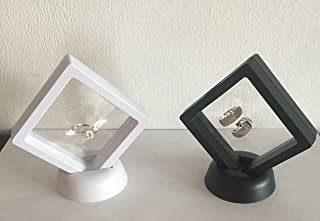 JD PRIME Set of 2 Displays Floating Frame, Display Case, Shadow Box, Excellent for Jewelry, Shells, Stones, Coin Display Box, Flowers collected (Set Small, Black-White)