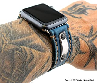 Apple Watch Band 44mm, 42mm, 40mm, 38mm, Genuine Leather Personalized, Handmade,and for 38mm and 42mm Apple Watch, Leather Apple Watch Band, Denim Blue
