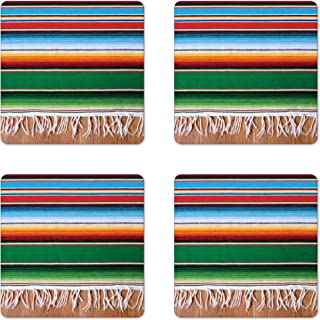 Lunarable Mexican Coaster Set of 4, Colorful Boho Serape Pattern with Horizontal Stripes and Lines Cultures Picture, Square Hardboard Gloss Coasters, Standard Size, Green Red