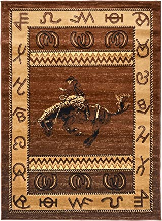 Rugs 4 Less Collection Cowboy Horse Western Cabin Style Lodge Area Rug Design R4L 370 (5'2X7'3)