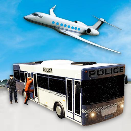 Jeux de simulateur de vol avion Gangster gratuit: Transport de criminels en bus à l'aéroport City Jeux d'aventure 2018
