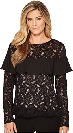 Ivanka Trump - Stretch Lace Ruffle Blouse
