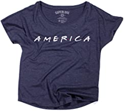Superluxe Clothing Womens Friends America 4th of July Tri-Blend Dolman T-Shirt