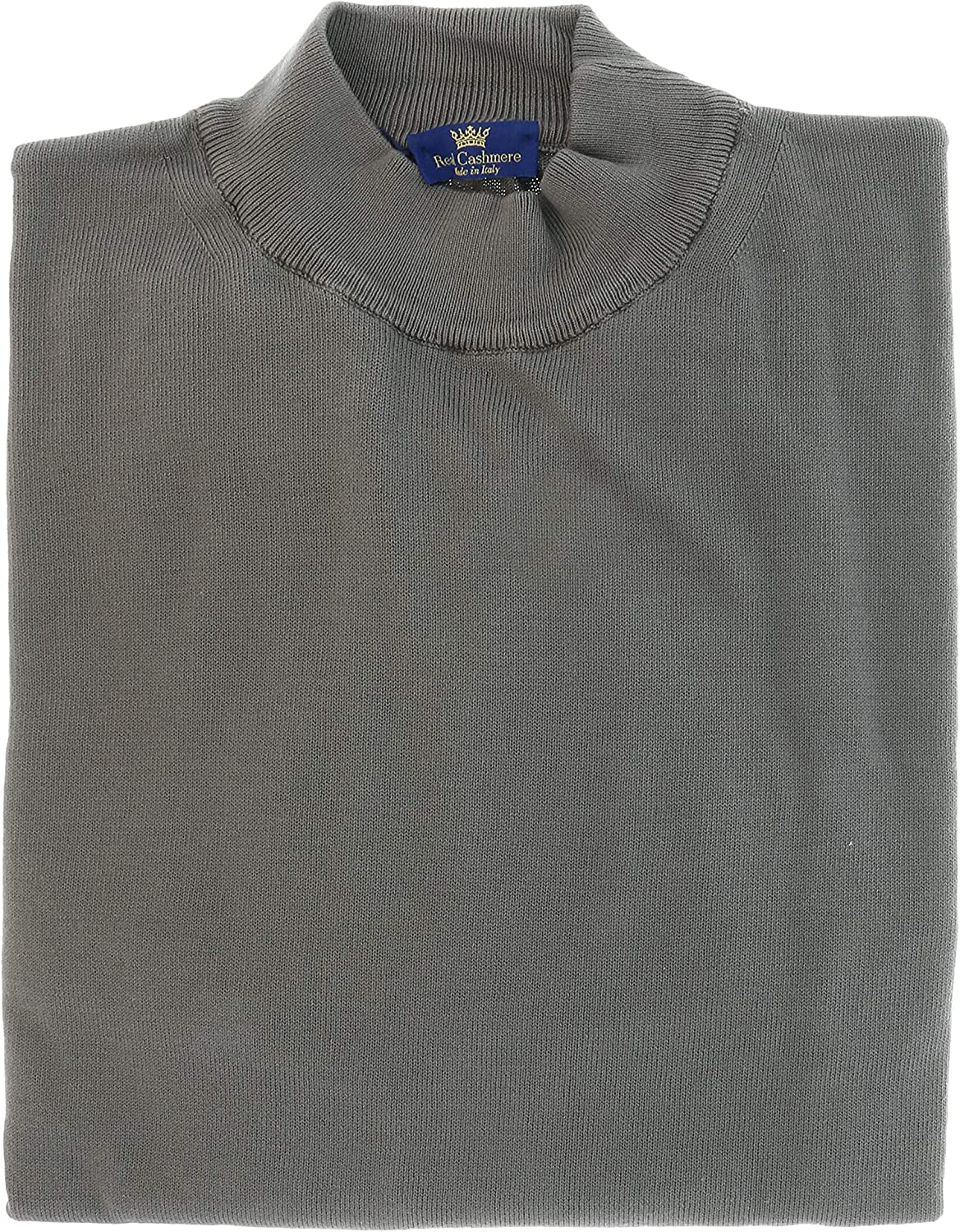 Real Cashmere Cotton-Modal Blend Mock Neck Big Mens Taupe Sweater for Mens