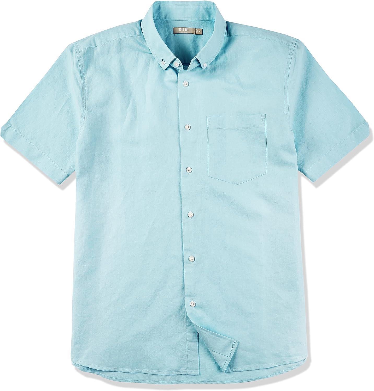 Isle Bay Linens Men's Short Sleeve Toile Woven Standard Shirt Grey Green Small