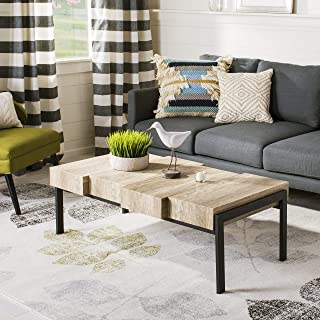Safavieh Home Collection Alexander Canyon Grey and Black Rectangular Contemporary Rustic Coffee Table