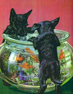 Scottish Terrier Scotty Dog Puppy Kids Wall Decor - Poster Print - Dog Art - Vintage Reproduction - 11 x 14
