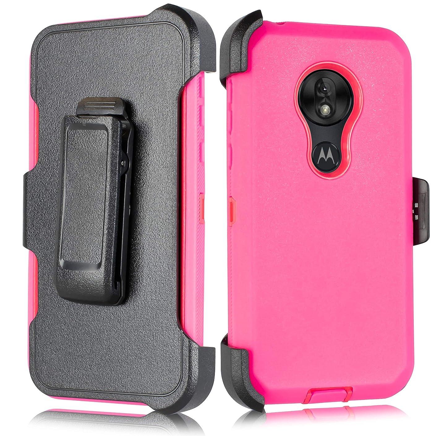 for Moto G7 / Moto G7 Plus case (2019)【Built-in Kickstand & Belt Clip Holster】[Built in Screen Protector] Anti-Slip Grip [Shockproof Bumper] for Motorola G7, Motorola G7 Plus (Pink)