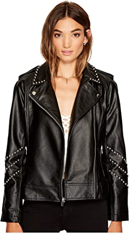 BB Dakota Jerilyn Studded Faux Leather Jacket