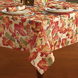 """Elrene Home Fashions Festival Printed Fabric Tablecloth for Fall/Harvest/Thanksgiving, 52"""" x 52"""", Multi"""