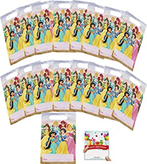 Princess Party Supplies Birthday Favor Treat Bags with Belle, Cinderella, Jasmine, Snow White, Ariel and Aurora for 16 Guests