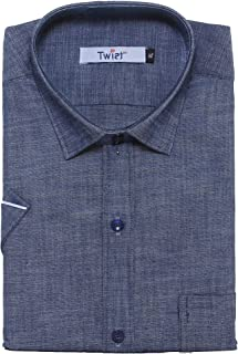 Twist Men's Linen Chambray Regular Fit Half Sleeve Shirt (Blue)