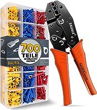 BAURIX ® Krimptang met 700 stuks kabelschoenenset I [0,50-6,0 mm²] kabelschoentang I Krimptangen kabelschoenen, krimptang,...