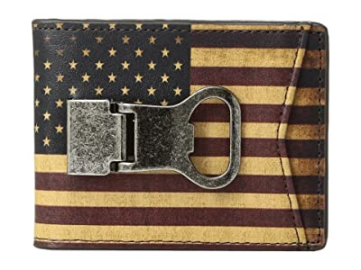 M&F Western Vintage USA Flag Money Clip Wallet (Multi) Wallet Handbags