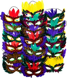 4E's Novelty 1 Dozen Fantasy Feather Masks 12 Assorted Styles, Masquerade Masks for Mardi Gras and Halloween Costume Party Favors
