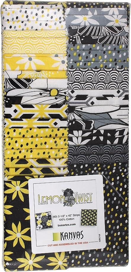 Kanvas Studio Lemon Twist Strip-Pies 40 2.5-inch Strips Jelly Roll Benartex, Assorted