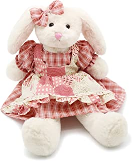 Oitscute Small Soft Stuffed Animal Bunny Rabbit Plush Toy for Baby Girls 15inch (White Rabbit Wearing Red Plaid Dress)