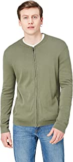 find. Amazon Brand Men's Cotton Cardigan Sweater in Bomber Jacket Style