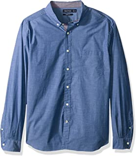 Nautica mens Classic Fit Stretch Solid Long Sleeve Button Down Shirt Button Down Shirt