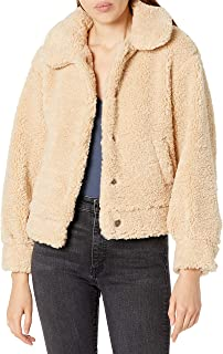 ASTR the label womens Majorie Collared Long Sleeve Shearling Button Up Jacket