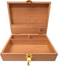 Blake & Lake Wooden Stash Box with Lock - Large Stash Box with Lock and Key - Stash Boxes Compartment Box with Extra Storage for Accessories Wood Lock Box (Natural Wood)