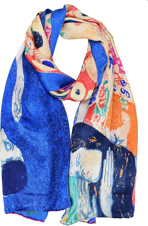 ELEGNA Luxurious 100% Silk Scarf Shawl with Hand Rolled Edge Gustav Klimt Hope II bluee