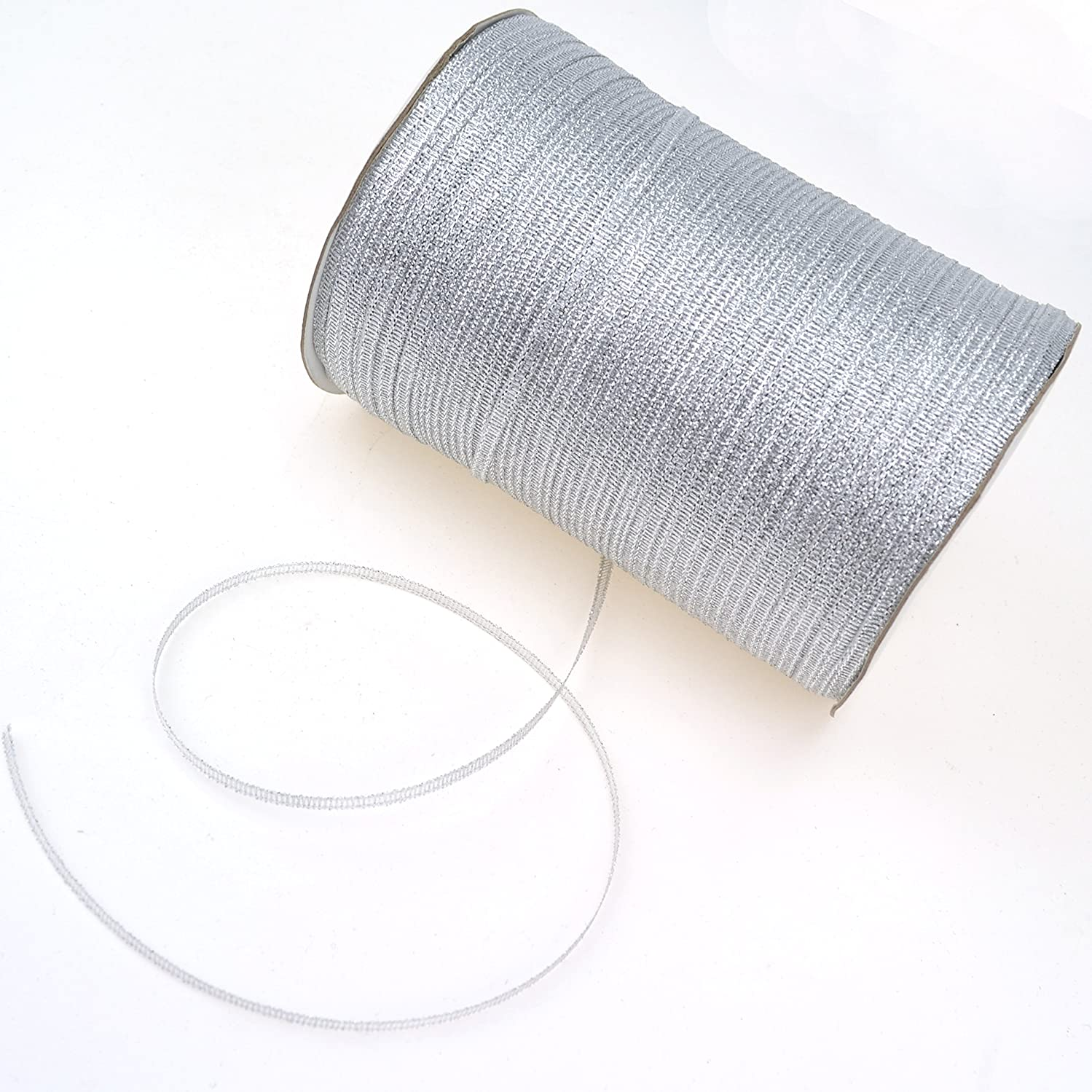 1/8-Inch Satin Ribbon by 870 Yard Spool | 3mm Double Face Woven Polyester Ribbon Hanging Tag&Card for Art Projects | No Fading Scrapbook Fabric Ribbon (1/8-Inch x 870 Yard x 1 Spool, Glitter Silver)