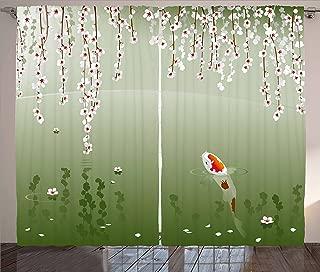 Lunarable Koi Fish Curtains, Japanese Koi Fish Painting Style Hanging Cherry Flowers Floating Leaves, Living Room Bedroom Window Drapes 2 Panel Set, 108