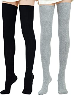 Kayhoma Extra Long Cotton Thigh High Socks Over the Knee High Boot Stockings Leg Warmers