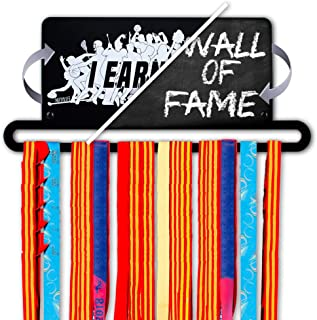 Nifty Life Medal Holders for Runners - Medal Holder for Kids Gymnastics Sports Marathon - Running Medal Display Rack – Metal Race Medal Hanger Personalized with Chalk for 30 Medals