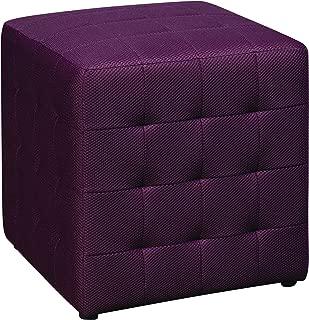 Office Star Detour 15-Inch Mesh Fabric Cube Ottoman, Purple
