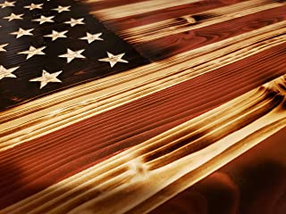 Rustic Wooden American Flag Red White and Burned