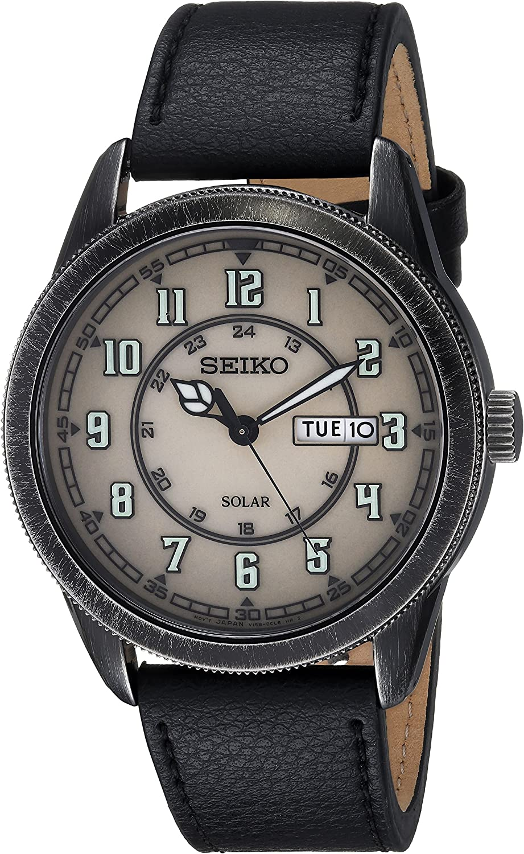 Seiko Mens RECRAFT Stainless Steel Japanese-Quartz Watch with Leather Calfskin Strap, Black, 22 (Model: SNE447)