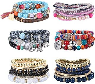 6Sets Bohemian Beaded Bracelets Set for Women Stackable Bracelets Stretch Multilayer Beaded Bangles Bracelets