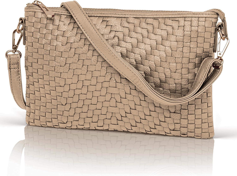 Crossbody Bag for Women  Woven Faux Leather Wristlet