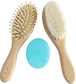 Wooden Baby Hair Brush Set with Natural Goat Hair Bristles ~ Cradle Cap Brush ~ Best Baby Shower and Registry Gift ~ Supports Charity (Brush Set)