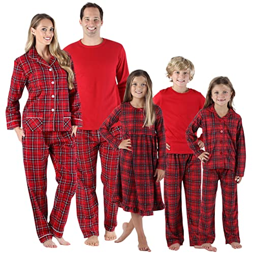 58a04763c2 SleepytimePjs Holiday Family Matching Red Plaid Flannel Thermal Pajamas PJs  Sets for The Family