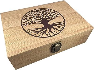 Bamboo Wood Hinged Cigar Storage Stash Box -8.5 x 6 x 2.5 Inches (Tree of Life)