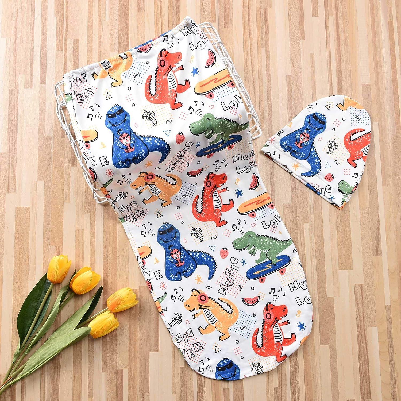 Newborn Unisex Baby Girls BoysSleep Bag Cartoon Animal Printed Long Sleeve Blanket+Hat 2Pcs Set