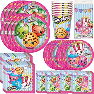 Unique Shopkins Birthday Party Bundle | Luncheon & Beverage Napkins, Dinner & Dessert Plates, Table Cover, Cups | Great for Colorful Themed Parties