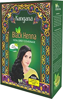 Kangana Black Henna Powder for 100% Grey Coverage - Natural Black Henna Powder for Hair Dye/Color- 6 pouches inside- Total...