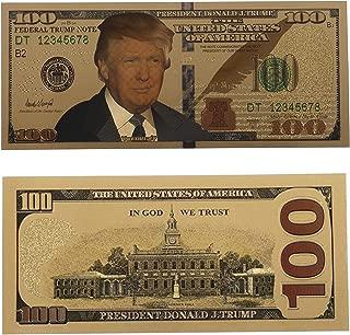 SUSHAFEN 10Pcs Donald Trump Gold Foil 100 Dollar Bill Banknote Commemorative Challenge Foil Banknote President Donald Trump Novelty Collection Gift