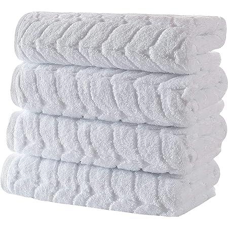 Bagno Milano 100% Turkish Cotton Jacquard Luxury Towel Set – Quick Dry Non-GMO Ultra-Soft, Plush and Absorbent Luxury Durable Turkish Towels Set (White, 4 Pcs Hand Towel Set)