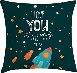 Ambesonne I Love You Throw Pillow Cushion Cover, Rocket on The Road of Space Adventurist Cosmic Couples Happy Birthday Theme, Decorative Square Accent Pillow Case, 20